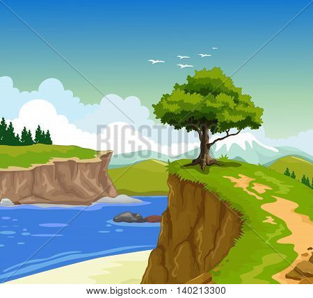 beauty mountain cliff with lake landscape background