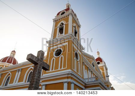 Granada Nicaragua Cathedral outdoors view with sky