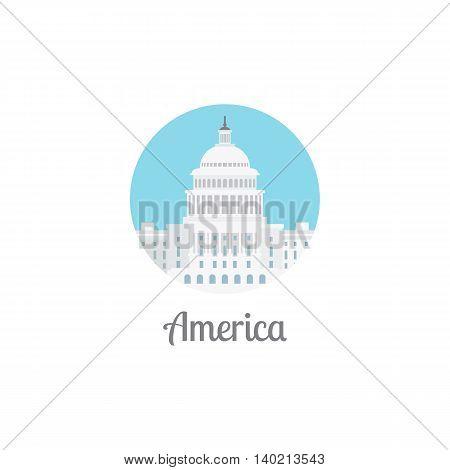 America landmark isolated round icon. Vector illustation