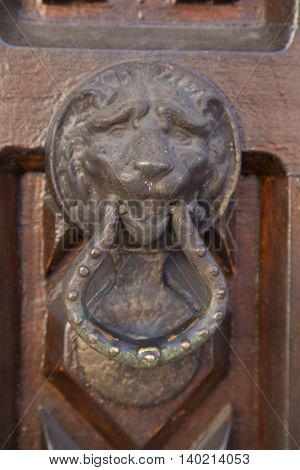 antique lion knocker from an old door in detail