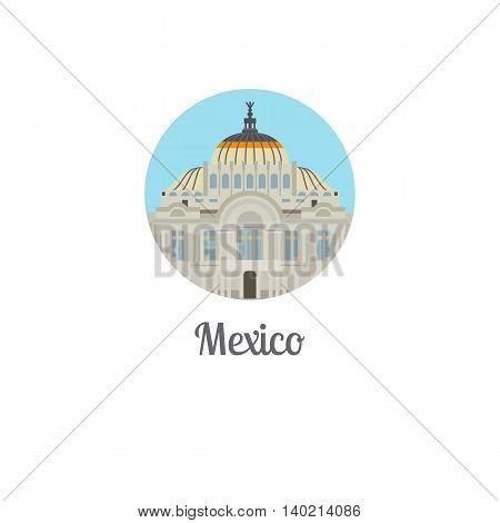 Mexico palace landmark isolated round icon. Vector illustration