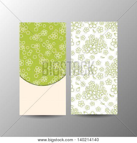 Vertical green floral banner template. Vector illustration