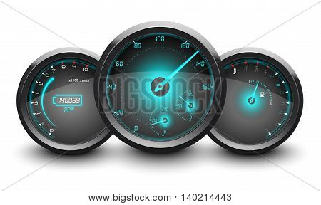 Speedometer, tachometer, fuel and temperature gauge isolated white background