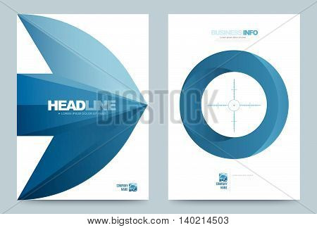 Blue Annual report brochure flyer design template vector arrow target style Leaflet cover presentation abstract technology background layout in A4 size. Vector illustration.