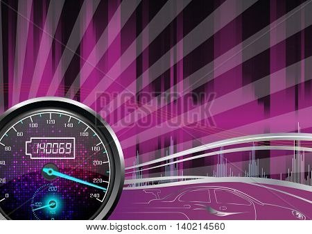The speedometer of a car on a purple background