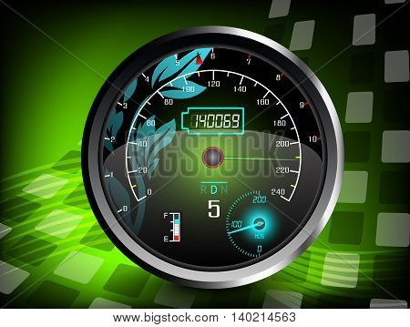 The speedometer on a green color background