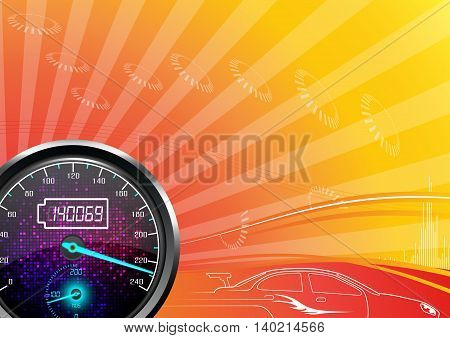 Illustration of The speedometer of a car on a orange background