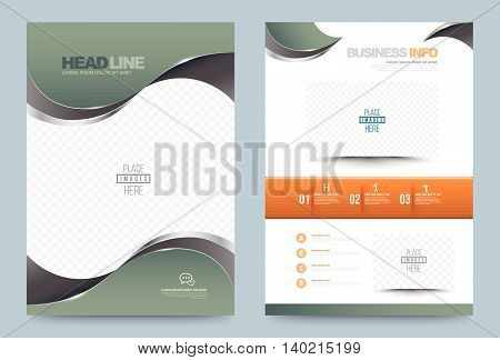 Green Annual report brochure flyer design template vector curve style Leaflet cover presentation abstract technology background layout in A4 size. Vector illustration.