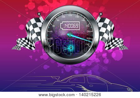 Illustration of Realistic Speedometer and checkered flags