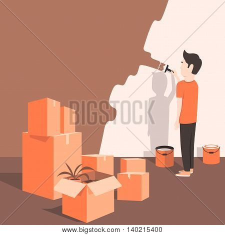 Man paints the wall at home. Cartoon style. Vector illustration. Moving. Freshly renovated