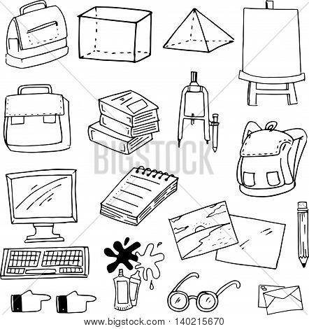 Flat doodle education school supplies vector art