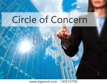 Circle Of Concern - Businesswoman Pressing Modern  Buttons On A Virtual Screen