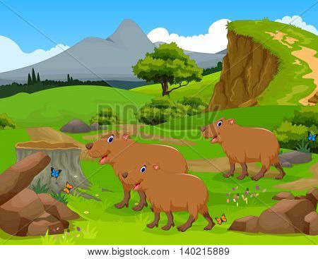 funny capybara cartoon in the jungle with landscape background