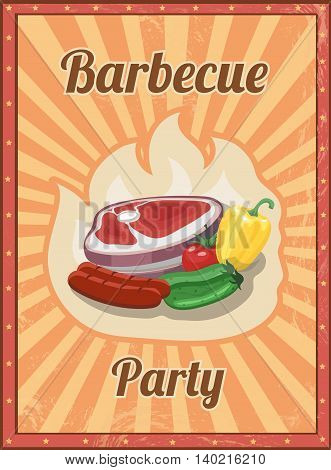 Vintage BBQ poster. Grill restaurant barbecue, steak sausage hot food illustration