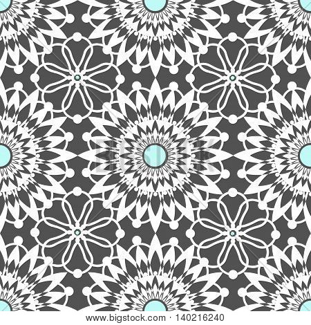 White seamless lace pattern on gray background