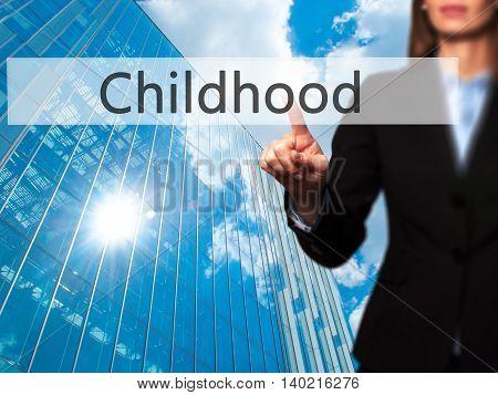 Childhood - Businesswoman Pressing Modern  Buttons On A Virtual Screen