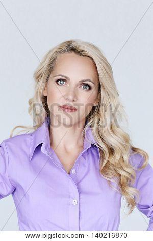 Beautiful woman in purple shirt