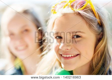 people and portrait concept - happy teenage girl face