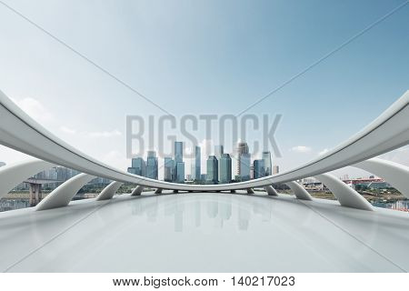 cityscape and skyline of chongqing in cloud sky on view from abstract window