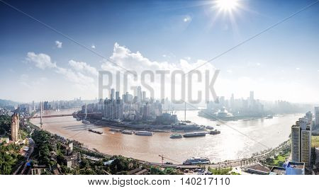 landscape of downtown near water of chongqing in sunny day