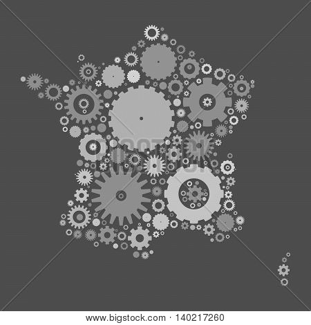 France map silhouette mosaic of cogs and gears. Grey vector illustration on gray background.