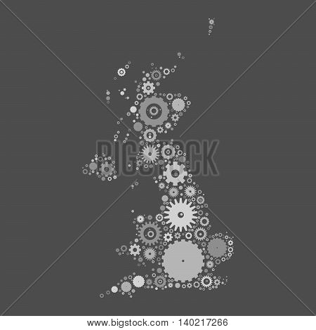 United Kingdom map silhouette mosaic of cogs and gears. Grey vector illustration on gray background.