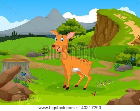 funny deer cartoon in the jungle with landscape background