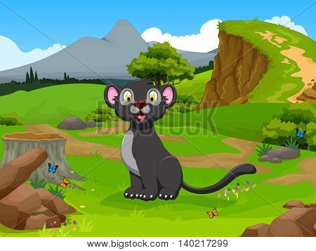 funny black panther cartoon in the jungle with landscape background