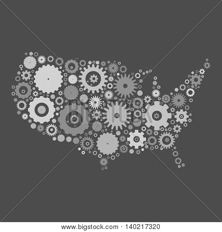 United States od America map silhouette mosaic of cogs and gears. Black vector illustration on white background.