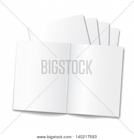 Blank opened magazine or notepad template on white background. Realistic