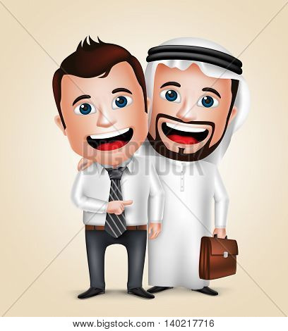 Arab man and businessman vector characters happy business partners showing friendship. Vector illustration.