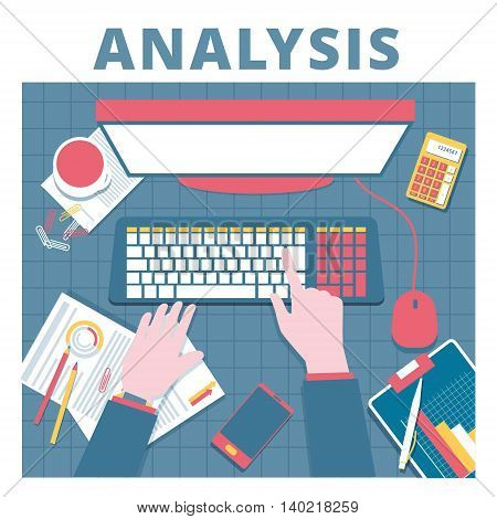 Financial analysis vector concept. Audit and accounting proccess illustration