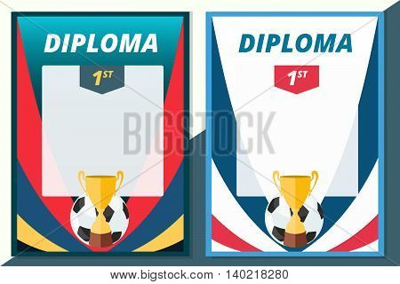 Football winner diploma in A4 size design. Vector soccer certificate background