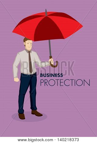 Cartoon businessman holding a big red umbrella isolated on plain purple background. Metaphor for protection vector business illustration.