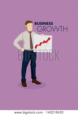 Cartoon businessman holding a business growth chart. Vector illustration on business growth concept isolated on purple background.