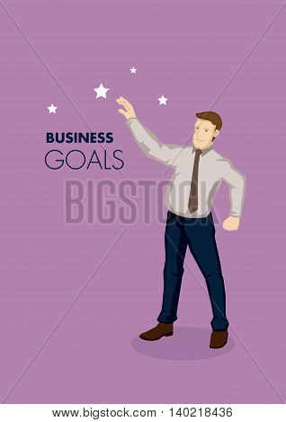 Vector business illustration of cartoon businessman character reaching for the stars metaphor for business goals isolated on plain purple background.