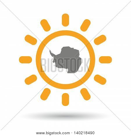Isolated Line Art Sun Icon With  The Map Of  Antarctica