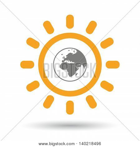 Isolated Line Art Sun Icon With   An Asia, Africa And Europe Regions World Globe