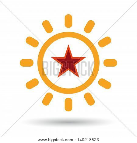 Isolated Line Art Sun Icon With  The Red Star Of Communism Icon