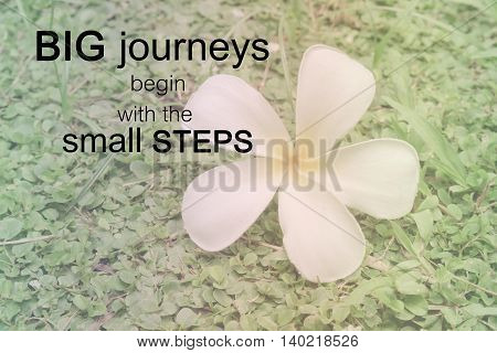 Word  Big Journeys Begin With The Small Steps.inspirational Motivational Quote On White Plumeria On