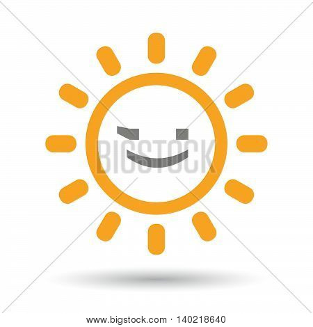 Isolated Line Art Sun Icon With  A Wink Text Face Emoticon