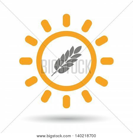 Isolated Line Art Sun Icon With  A Wheat Plant Icon