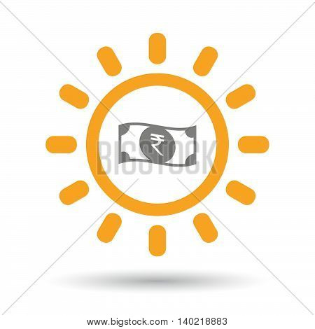 Isolated Line Art Sun Icon With  A Rupee Bank Note Icon