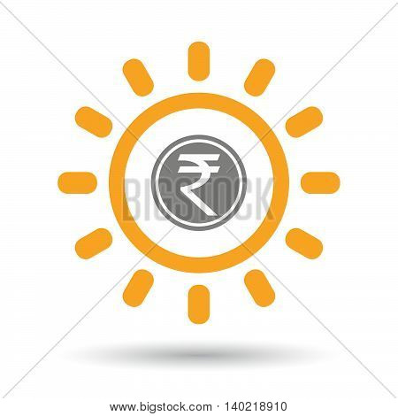 Isolated Line Art Sun Icon With  A Rupee Coin Icon