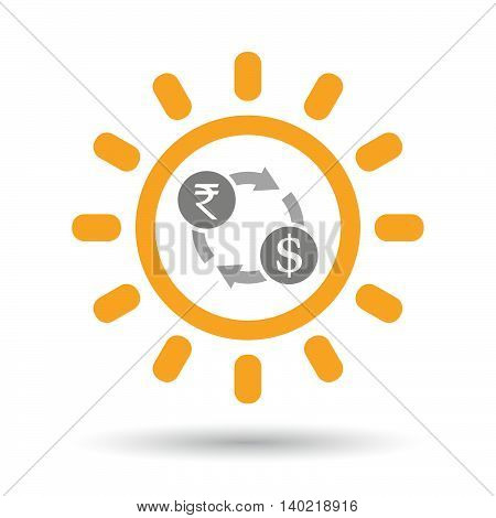 Isolated Line Art Sun Icon With  A Rupee And Dollar Exchange Sign