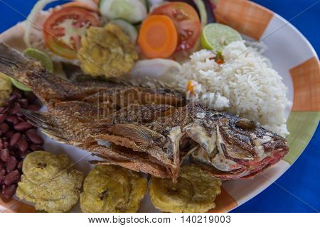 fried fish with rice and banana typical dish from Nicaragua