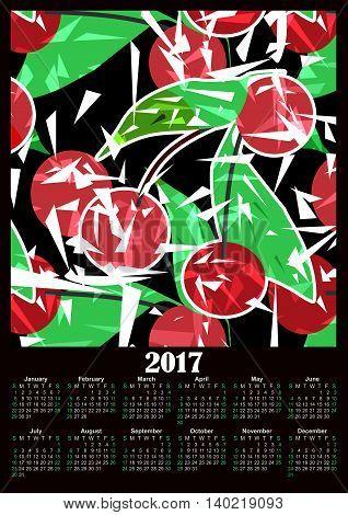 Cherry fresh modern 2017 calendar design printable