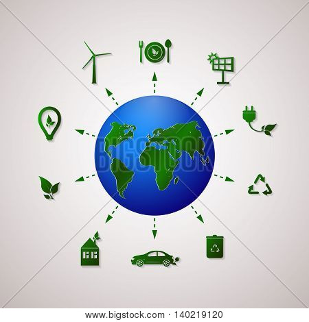 Green planet vector info graphic illustration. Ecology flat design. Ecology icons. Go green design template.