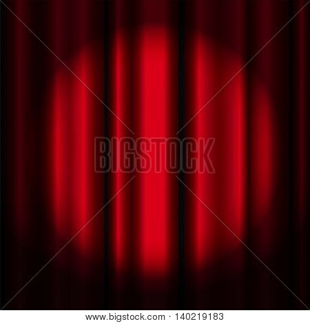 Red theater curtain with spotlight, vector image