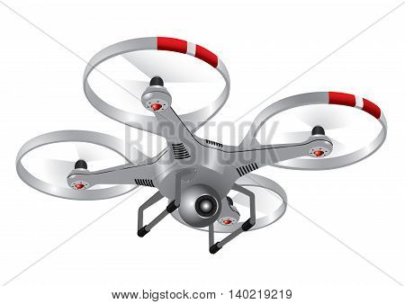 Drone with the camera, metalic silver, 3D image, vector